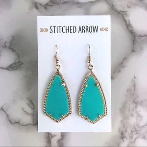 Jewelry - Gold & Mint Green Kite Metal Acrylic Drop Earrings